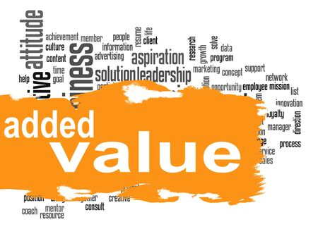 could: Added Value word cloud with orange banner image with hi-res rendered artwork that could be used for any graphic design. Stock Photo