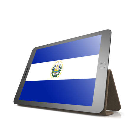 bandera el salvador: Tablet with El Salvador flag image with hi-res rendered artwork that could be used for any graphic design.