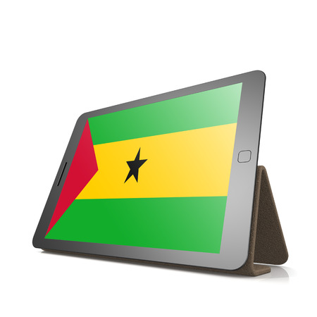 principe: Tablet with Sao Tome and Principe flag image with hi-res rendered artwork that could be used for any graphic design. Foto de archivo