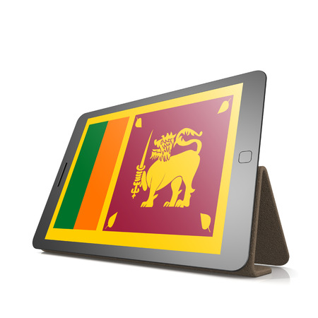 sri lanka flag: Tablet with Sri Lanka flag image with hi-res rendered artwork that could be used for any graphic design.