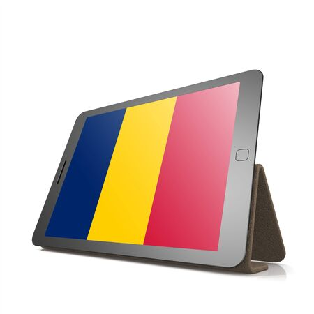 chad flag: Tablet with Chad flag image with hi-res rendered artwork that could be used for any graphic design.