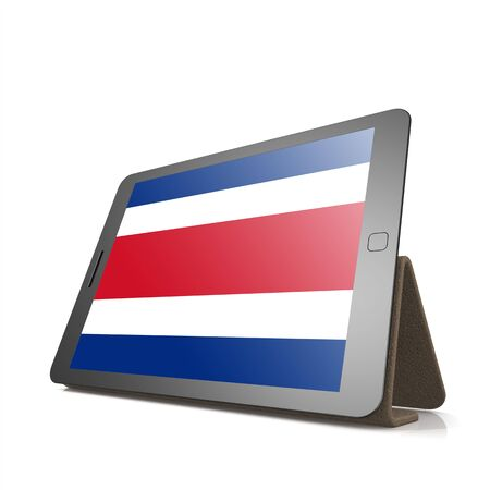 costa rica flag: Tablet with Costa Rica flag image with hi-res rendered artwork that could be used for any graphic design.