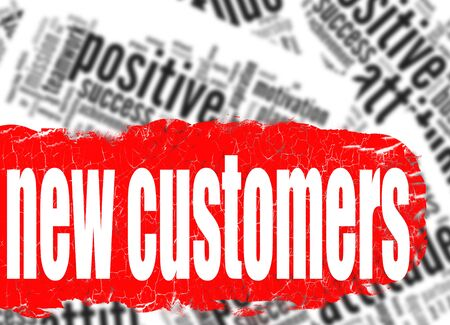 sales person: Word cloud new customers image with hi-res rendered artwork that could be used for any graphic design.