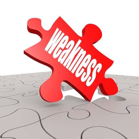 weakness: Weakness word with puzzle background image with hi-res rendered artwork that could be used for any graphic design.