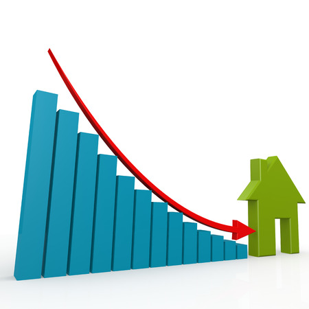 home value: House and arrow go down image with hi-res rendered artwork that could be used for any graphic design. Stock Photo
