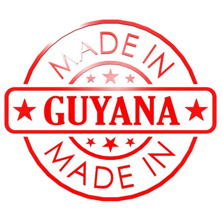 red seal: Made in Guyana red seal image with hi-res rendered artwork that could be used for any graphic design. Stock Photo