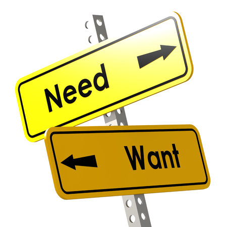 necessity: Need and want with yellow road sign image with hi-res rendered artwork that could be used for any graphic design. Stock Photo