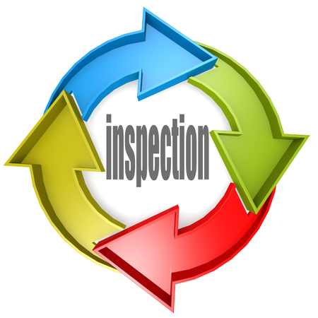 evaluated: Inspection color cycle sign image with hi-res rendered artwork that could be used for any graphic design. Stock Photo