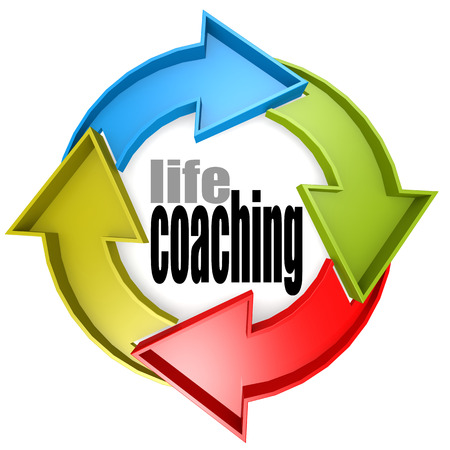 life coaching: Life coaching color cycle sign image with hi-res rendered artwork that could be used for any graphic design.