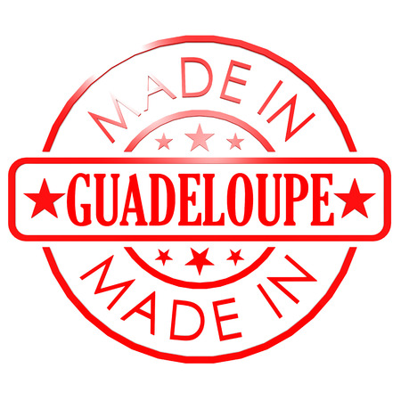 guadeloupe: Made in Guadeloupe red seal image with hi-res rendered artwork that could be used for any graphic design.