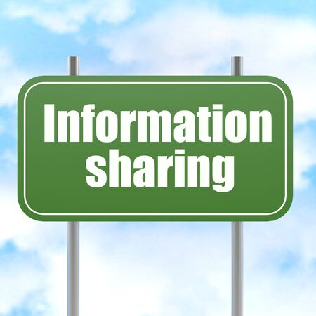 sharing information: Information sharing road sign image with hi-res rendered artwork that could be used for any graphic design. Stock Photo
