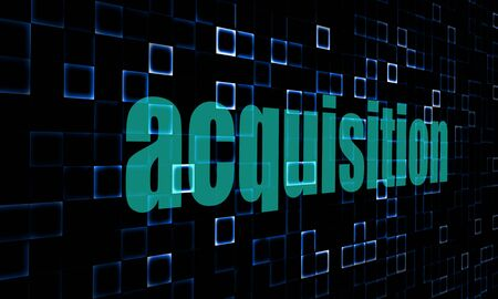 acquisition: Pixelated words acquisition on digital background image with hi-res rendered artwork that could be used for any graphic design. Stock Photo