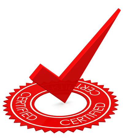 Certified red tick in a circle image with hi-res rendered artwork that could be used for any graphic design.