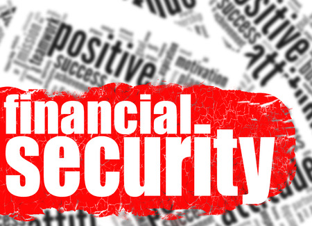 Word cloud financial security image with hi-res rendered artwork that could be used for any graphic design.