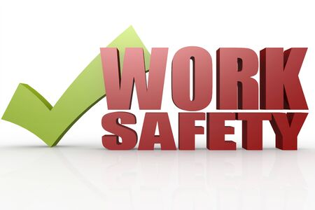 dangerous work: Green check mark with work safety word image with hi-res rendered artwork that could be used for any graphic design.