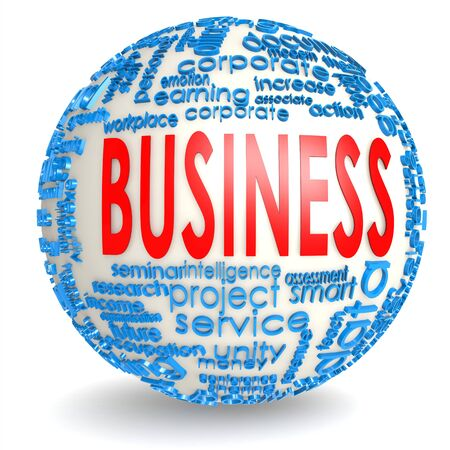 could: Business word on the sphere image with hi-res rendered artwork that could be used for any graphic design.