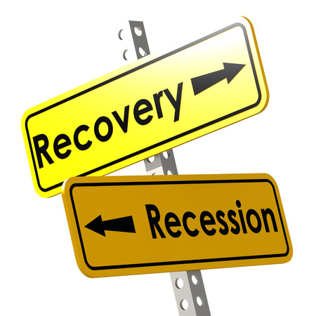 economic revival: Recovery and recession with yellow road sign image with hi-res rendered artwork that could be used for any graphic design. Stock Photo