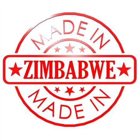 could: Made in Zimbabwe red seal image with hi-res rendered artwork that could be used for any graphic design.