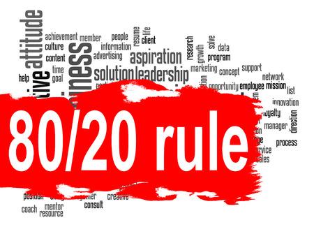 任意のグラフィック デザインに使用できる高解像度のアートワークを表示に、赤色のバナー イメージでルール 80 20 単語の雲。