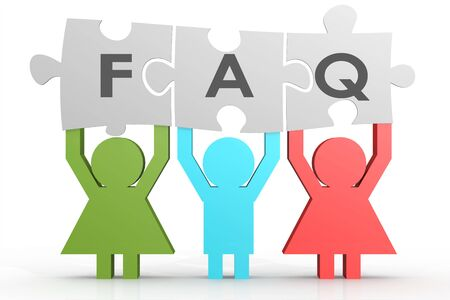 general knowledge: Three people hold FAQ puzzle in a line image with hi-res rendered artwork that could be used for any graphic design.