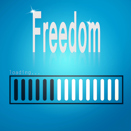 openness: Freedom blue loading bar image with hi-res rendered artwork that could be used for any graphic design.