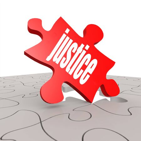 rightfulness: Justice word with puzzle background image with hi-res rendered artwork that could be used for any graphic design.
