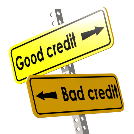 Good and bad credit with yellow road sign image with hi-res rendered artwork that could be used for any graphic design.