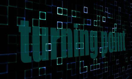 turning point: Pixelated words turning point on digital background image with hi-res rendered artwork that could be used for any graphic design.