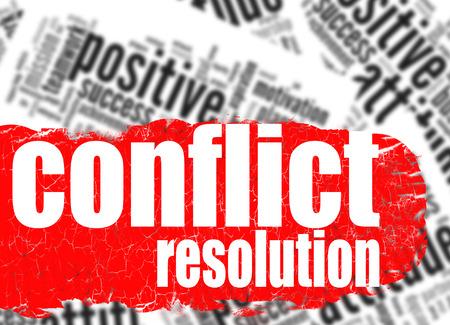 conflict: Imagen Nube de palabras la resolución de conflictos con las ilustraciones de alta resolución dictada Foto de archivo