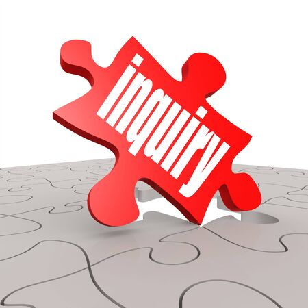inquiry: Inquiry word with puzzle background image with hi-res rendered artwork