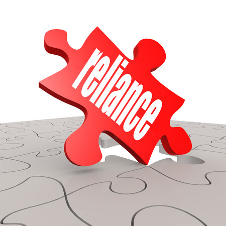 reliance: Reliance word with puzzle background image with hi-res rendered artwork
