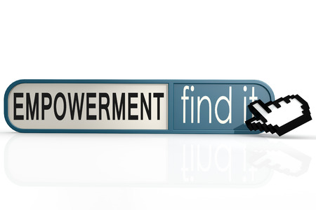 empowerment: Empowerment word on the blue find it banner image with hi-res rendered artwork Stock Photo