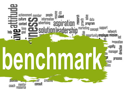 benchmark: Benchmark word cloud with green banner image with hi-res rendered artwork Stock Photo
