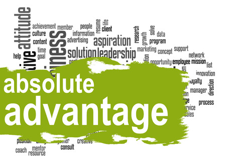 absolute: Absolute advantage word cloud with green banner image with hi-res rendered artwork