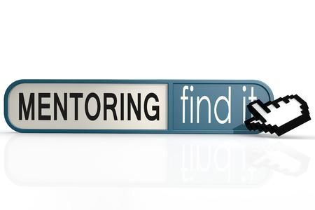 hires: Mentoring word on the blue find it banner image with hi-res rendered artwork
