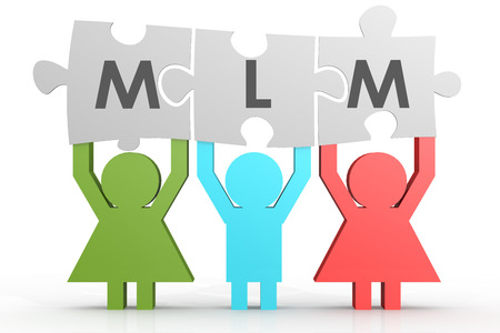 multi level: MLM - Multi Level Marketing puzzle in a line image with hi-res rendered artwork Stock Photo