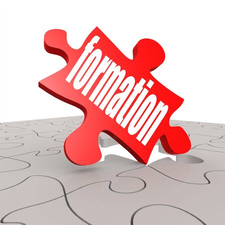 hires: Formation word with puzzle background image with hi-res rendered artwork Stock Photo