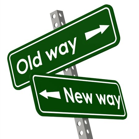 in a way: New way and old way road sign in green color Stock Photo