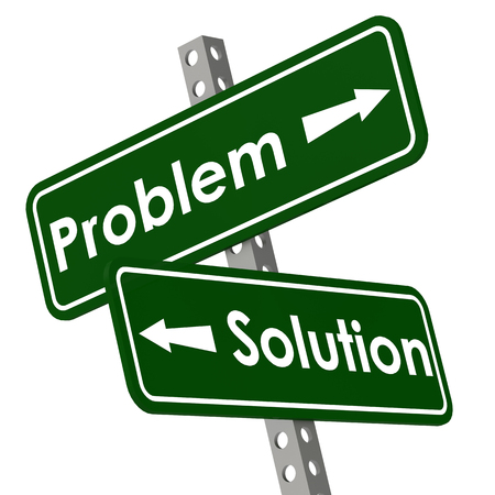 Problem and solution road sign in green color image with hi-res rendered artwork