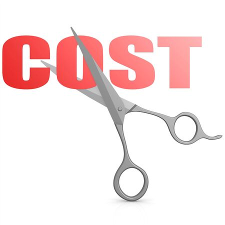 reduce: Cut red cost word with scissor image with hi-res rendered artwork that could be used for any graphic design.