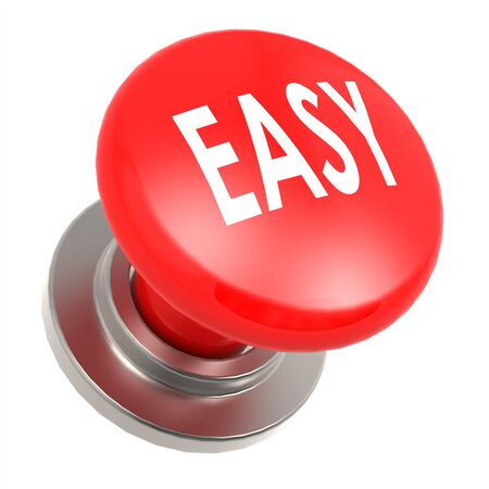 red button: Easy red button image with hi-res rendered artwork that could be used for any graphic design. Stock Photo