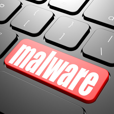 business software: Keyboard with malware text image with hi-res rendered artwork that could be used for any graphic design. Stock Photo