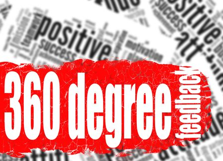 Word cloud 360 degree feedback image with hi-res rendered artwork that could be used for any graphic design.