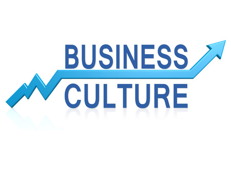 Business culture with blue arrow image with hi-res rendered artwork that could be used for any graphic design.