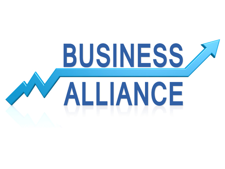 could: Business alliance with blue arrow image with hi-res rendered artwork that could be used for any graphic design.