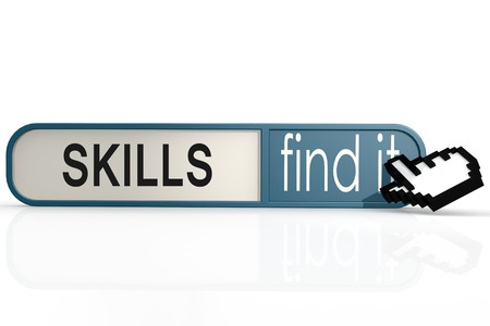 the applicant: Skills word on the blue find it banner image with hi-res rendered artwork that could be used for any graphic design.