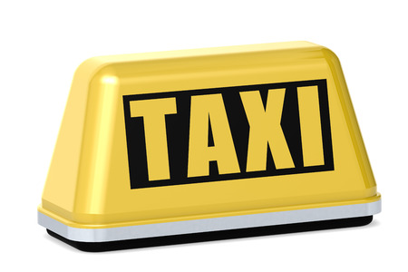 yellow taxi: Yellow taxi sign isolated image with hi-res rendered artwork that could be used for any graphic design. Stock Photo