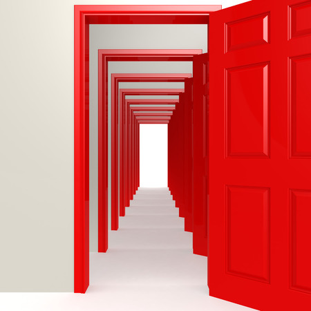 Multiple red doors in a row image with hi-res rendered artwork that could be used for any graphic design.