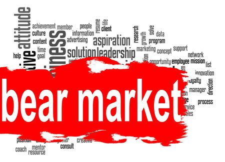 bear market: Bear market word cloud with red banner image