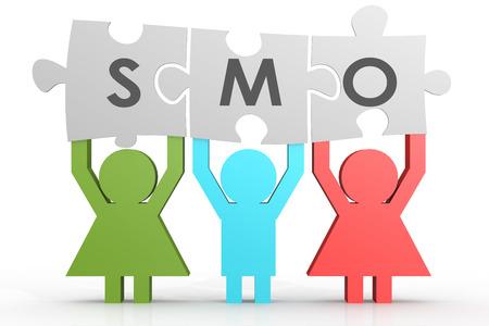 smo: SMO - Social Media Optimization puzzle in a line image